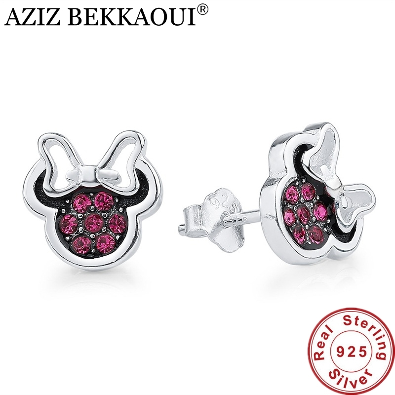 100% 925 Sterling Silver Stud Earrings Red Cubic Zirconia Minnie Shape Earrings for Women Lovely Stud Earring for Girl Valentine