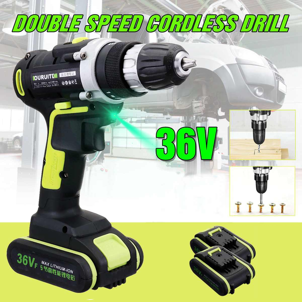 36V Professional Cordless Rechargeable Wireless Electric Screwdriver Cordless Drill Hammer Drill 0.8-10mm Chuck 2 Li-ion Battery