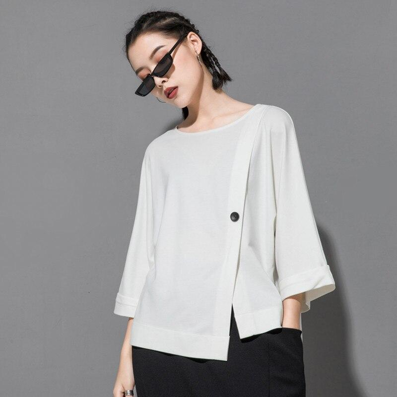 [EAM] 2020 New Spring Summer Round Neck Three Quarter Sleeve Hem Irregular Button Big Size T-shirt Women Fashion Tide JT233 3