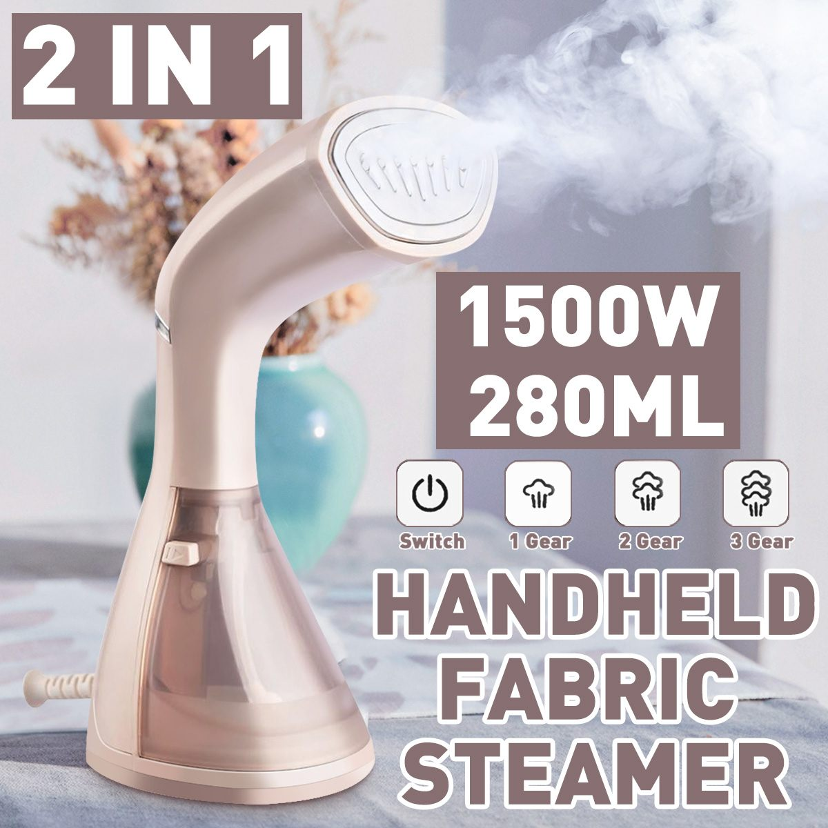 2 In 1 Handheld Steamer 1500W Powerful Garment Steamer Portable 15 Seconds Fast Heat Steam Iron Ironing Machine For Home Travel