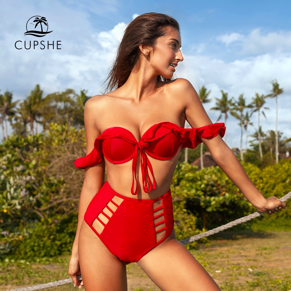 CUPSHE Solid Red Ruffle High Waisted Bikini Sets Sexy Cut Out Push Up Swimsuit Two Pieces Swimwear Women 2020 Beach Bathing Suit