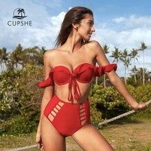 CUPSHE Solide Rot Rüsche Hohe Taille Bikini Sets Sexy Ausschnitt Push Up Badeanzug Zwei Stück Bademode Frauen 2020 Strand badeanzug