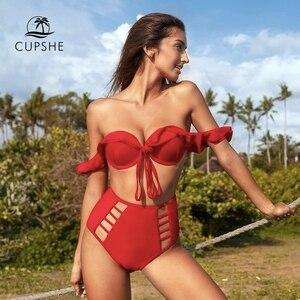 Image 1 - CUPSHE Solide Rot Rüsche Hohe Taille Bikini Sets Sexy Ausschnitt Push Up Badeanzug Zwei Stück Bademode Frauen 2020 Strand badeanzug