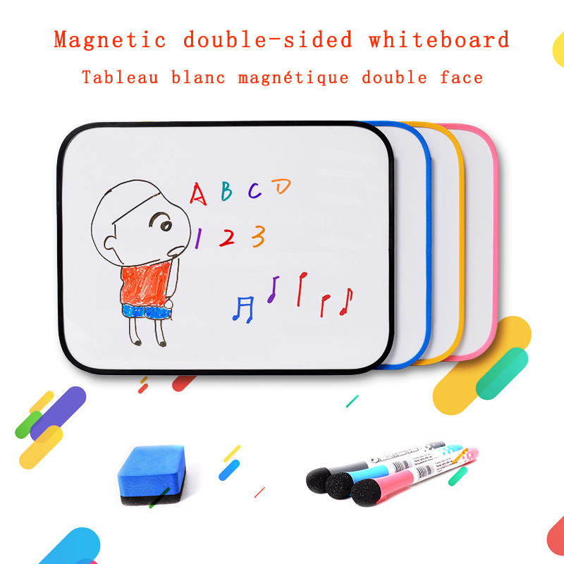 Magnetic Whiteboard Erasable Double Side Dry Erase Board Message Writing for Kids Mini Whiteboard Office School Supplies A4 Size