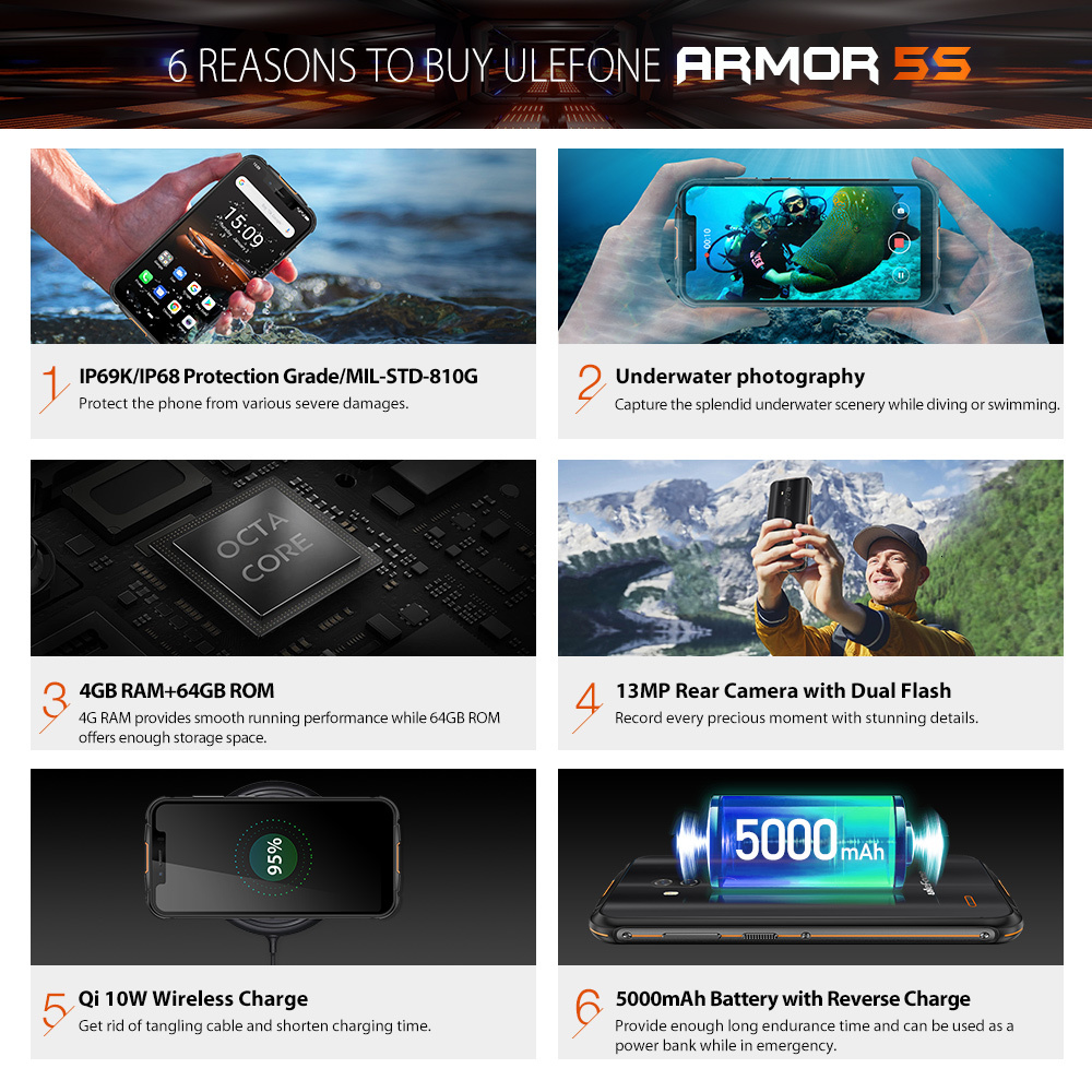 Ulefone Armor 5S IP68 Waterproof Mobile Phone NFC Android 9.0 4GB+64GB MT6763 Otca-core wireless charge 4G LTE Rugged Smartphone