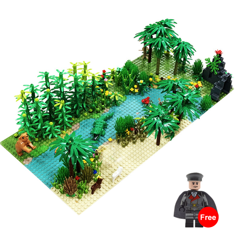 32*32Dots Classic Base Plates Tropical Rainy Climate Green Jungle Building Blocks Rainforest Animal Grass Tree MOC Kids Toy Gift