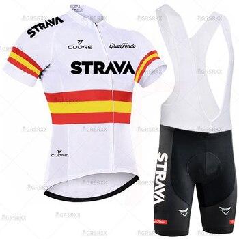 STRAVA Cycling Jersey Men Set Bib Shorts Set Summer Mountain Bike Bicycle Suit Anti-UV Bicycle Team Racing Uniform Clothes 19