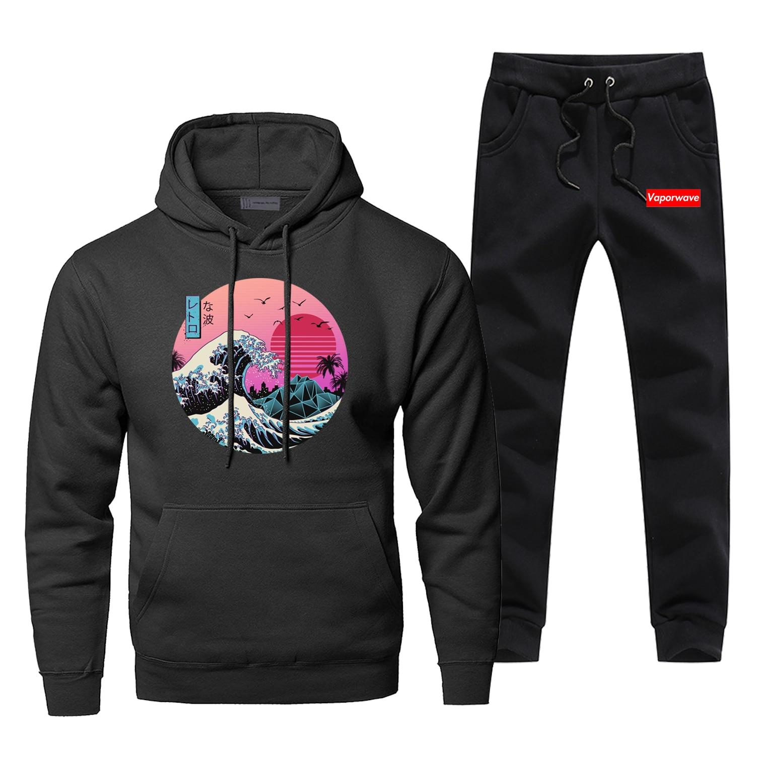 Classic The Great Retro Wave Japan Anime Hoodies+pants Sets Sweatshirt Harajuku Streetwear Men Vaporwave Funny Sportswear