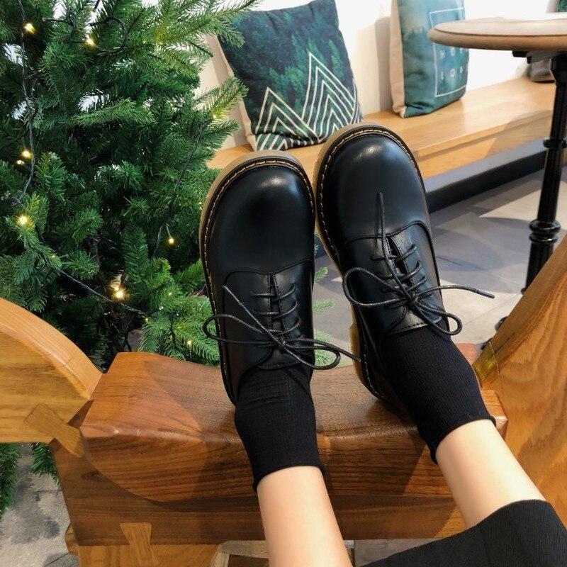Women Leather Shoes Round Head Toe Pure Color Wearing Outdoor Footwear Soft Sole Flat Heel Luxury Women Shoes Z16-23