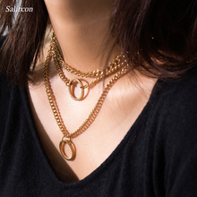 Salircon Fashionable Circle Alloy Geometric Pendant Necklace Unique Multilayer Necklace Selected 2019 New Men's Woman Necklace alloy metal geometric collarbone necklace