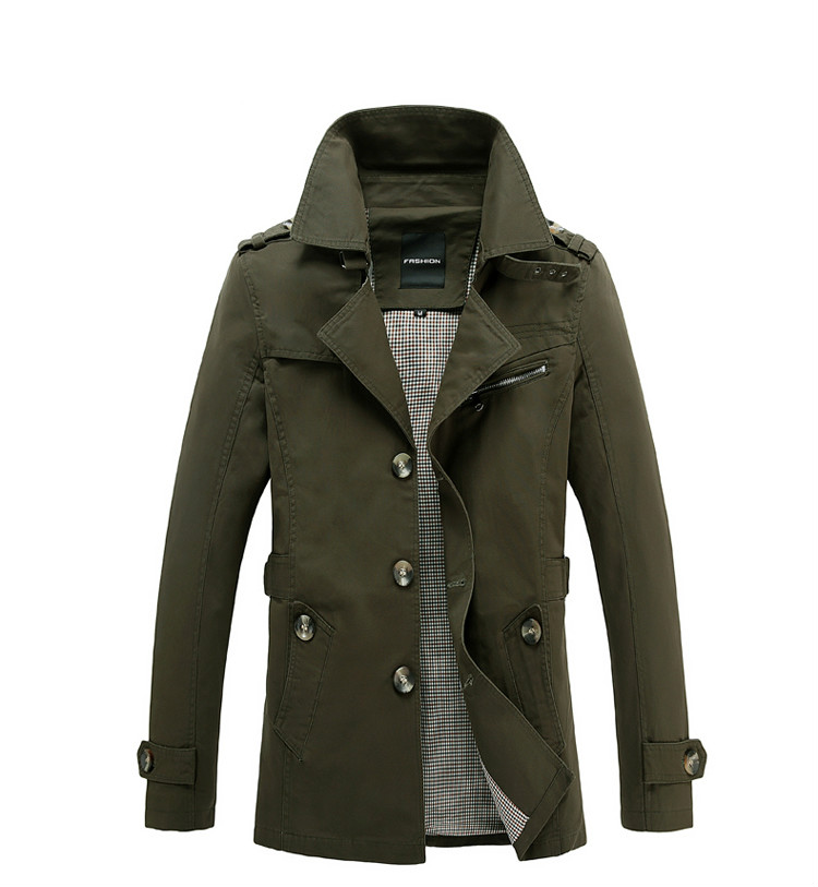 Men's Trench Coat 2019 New Fashion Designer Brand Clothing Man Long Coat Autumn Spring Windproof Slim Trench Coat Plus Size