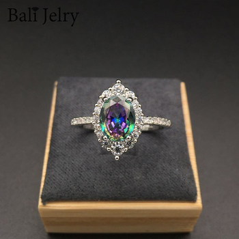 lesf vintage style 925 sterling silver 1 25 ct oval cut trendy wedding ring for women zircon engagement ring trendy jewelry Bali Jelry Trendy Ring Silver 925 Jewelry 7*10mm Oval Shape Topaz Gemstone Ornament for Women Wedding Engagement Wholesale Rings