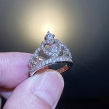 Классические роскошные кольца с Королевской короной для женщин, ослепительный белый циркон, инкрустированное благородным камнем, обручаль...