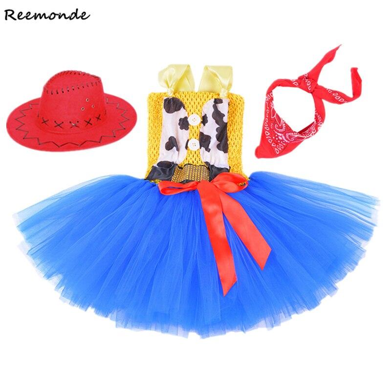 Toy Story 4 Jessie Girl's Woody Tutu Dress Cosplay Costume Kids Sherif Woody Jumpsuit Uniform Jessie Bubble Princess Halloween