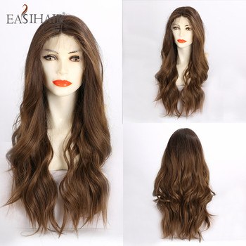 EASIHAIR Brown Wavy Lace Front Synthetic Wigs with Baby Hair Long for Women High Density Heat Resistant Natural - discount item  44% OFF Synthetic Hair