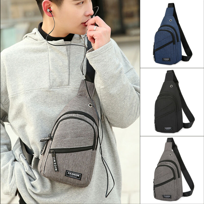 Hot Men Sling Waist Pack Canvas USB Charging Sports Crossbody Handbags For Men Chest Bags Belt Waist Packs