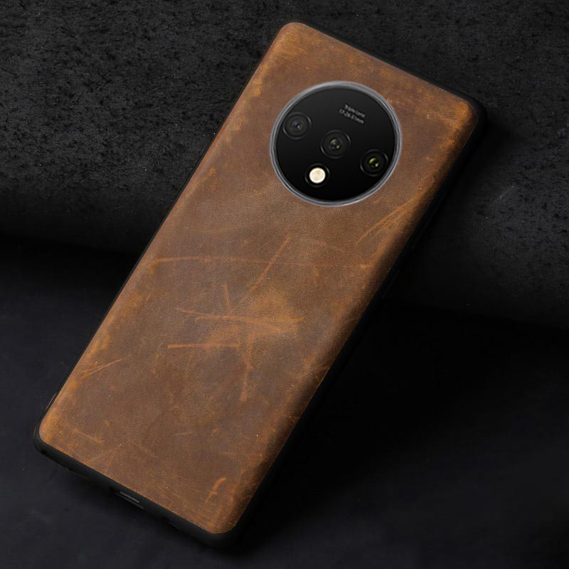 Genuine <font><b>leather</b></font> case For Oneplus 7 7T Pro 6 <font><b>6T</b></font> <font><b>Leather</b></font> back <font><b>cover</b></font> For <font><b>One</b></font> <font><b>Plus</b></font> 5 5T <font><b>6T</b></font> soft edge 360 Full Protective black case image