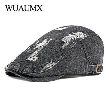 Wuaumx Unisex Retro Casual Mens Hats Denim Berets Hat Women Washed Cotton Duckbill Visors Herringbone Flat Caps Spring Summer