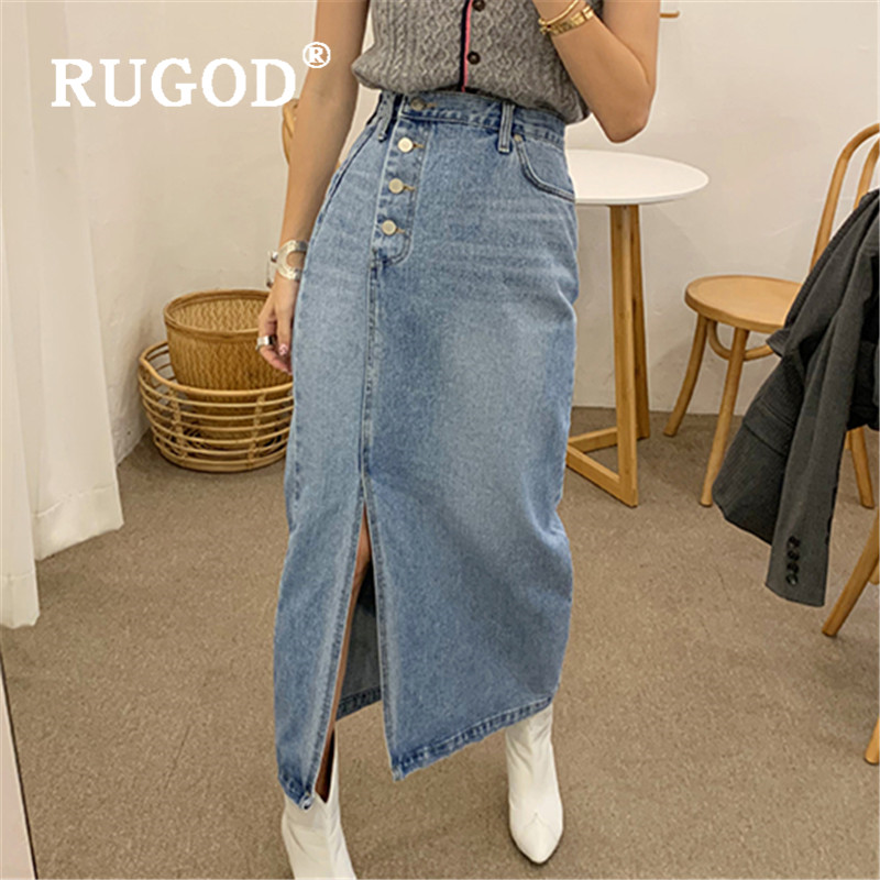 RUGOD 2020 New Women Denim Skirt High Waist Side Four Buttons Side Spilt Straight Skirt Korean Chic Fashion Streetwear Skirt
