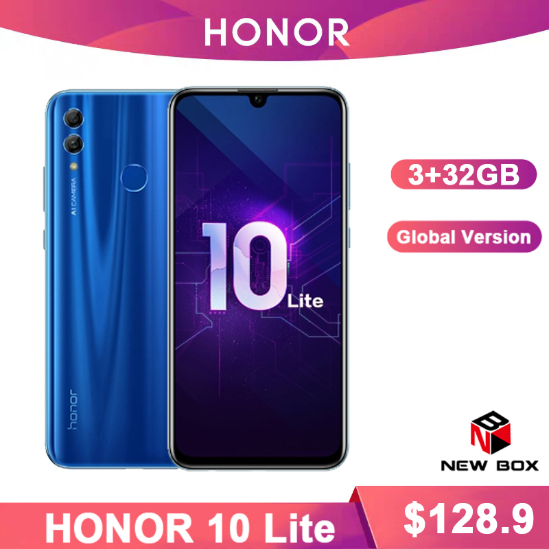 Huawei Honor 10 Lite  3GB 32GB Global VersionAndroid 9.0 Octa Core 6.21 Inch 2340*1080P 24MP Camera Google Play Cellphone