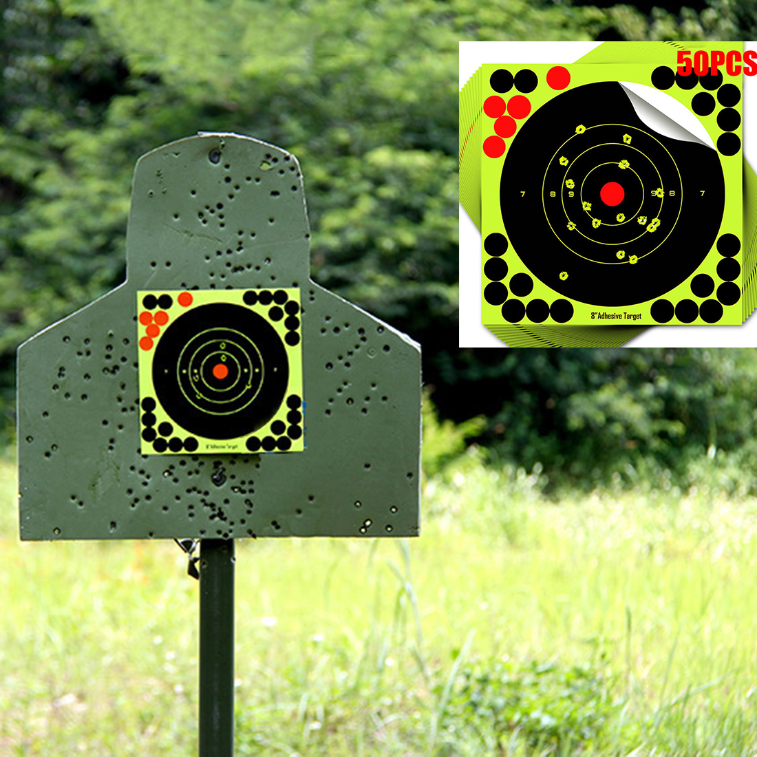 50pcs 20cm Target Practice Reactive Splatter Glow Shot Rifle Green Florescent Paper Strong Attachment Glue Target Papers