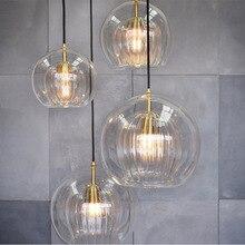 Lights-Bar Glass-Pendant-Light Industrial-Lamp Crystal Pleated Hanging Living-Room Nordic Led