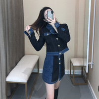 TVVOVVINStitching Denim Lapel Single breasted Waist Woman Short Jacket Skirt Suit Simple Fashion 2019 Autumn Winter New F117