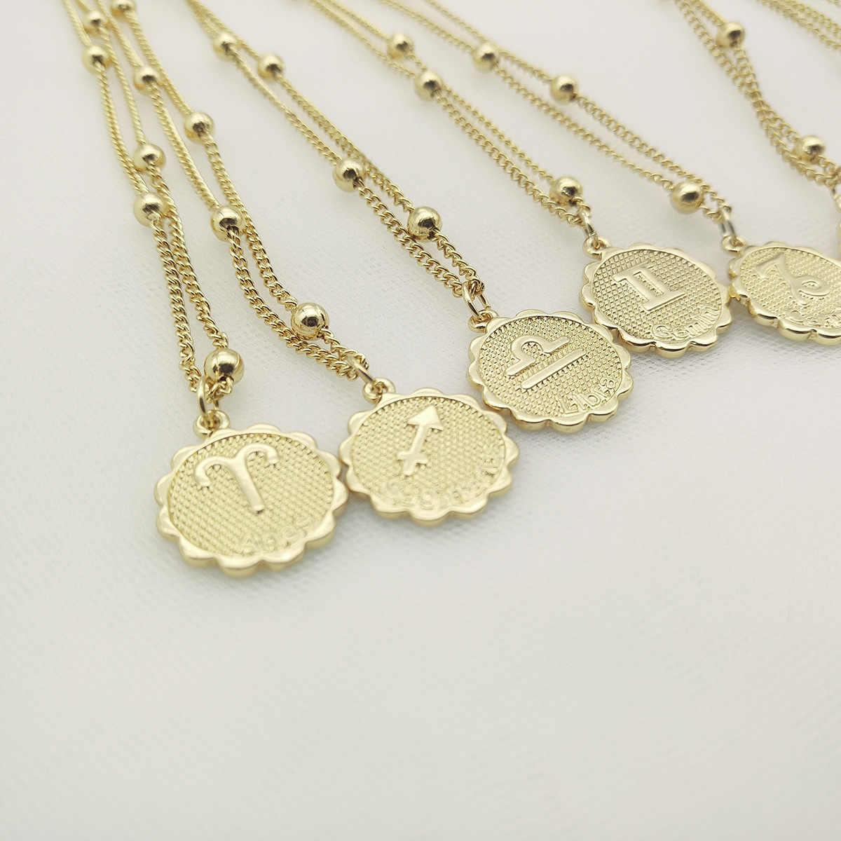 3UM ZodiacNecklace damskie naszyjniki konstelacji niebiańska biżuteria Keepsake Virgo Taurus Leo Gemini wisiorek Collier Ball Chain