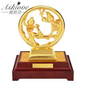 Image 2 - 3Dゴールドカササギ置物装飾品 24 18kゴールド箔結婚式の装飾ラッキー富デスクトップ工芸品ホームオフィスの装飾の結婚ギフト