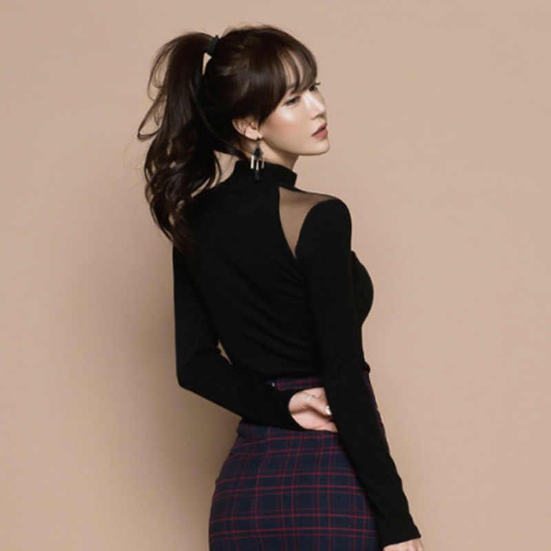 Noir 2019 nouveau automne femmes haute qualité tempérament col haut maille chemise à manches longues Sexy T-Shirt