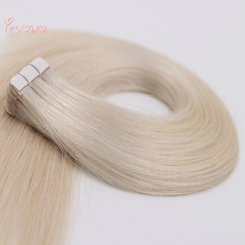 Yesowo 2.5g/piece Straight Remy Invisible PU Weft 100% Brazilian Human Hair 1000# Real Remy Hair Extensions With Tape In