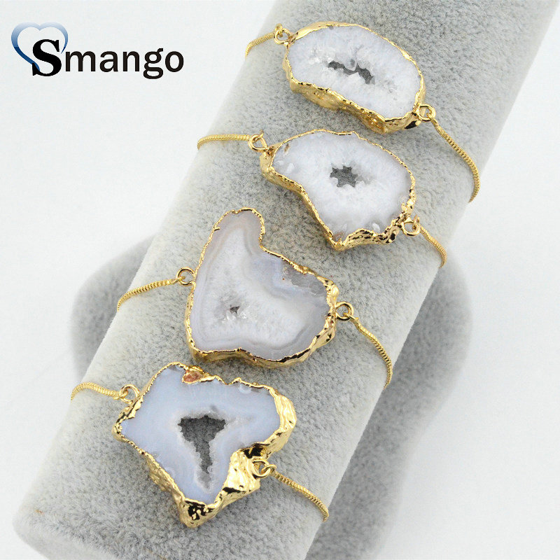Wholesale Copper Natural Stone Charm Bracelet In Gold Colors Top Quality Plating of 5 Pcs B0032 in Chain Link Bracelets from Jewelry Accessories