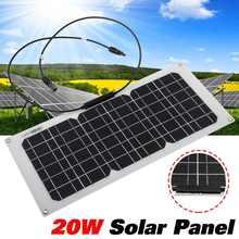 20 Вт Гибкая солнечная батарейка 18 в DIY модуль панели крокодил карабин моно-кристаллическая панель солнечных батарей для авто яхты наружное зарядное устройство