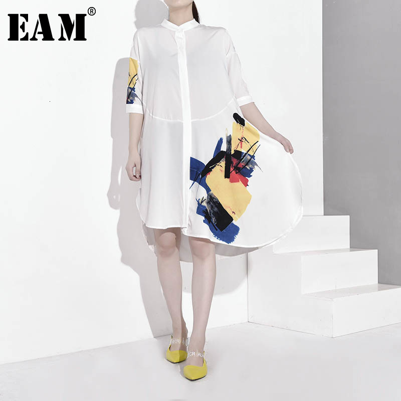 [EAM] Women White Pattern Printed Asymmetrical Big Size Blouse New Stand Collar Loose Fit Shirt Fashion Spring Autumn 2020 JY35