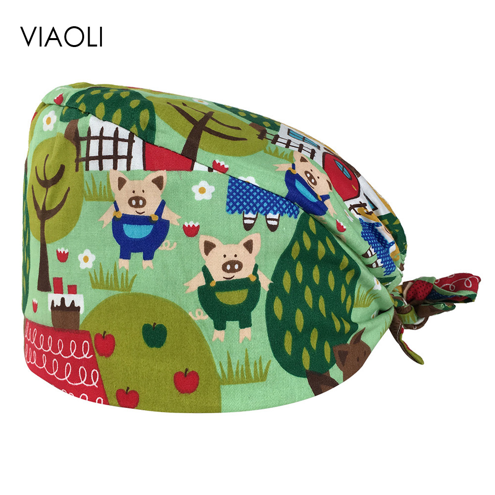 VIAOLI Cotton Breathable Scrub Caps Hospital Medical Hat Printing Strap Elastic Part Surgical Work Caps Unisex Multi-purpose Hat