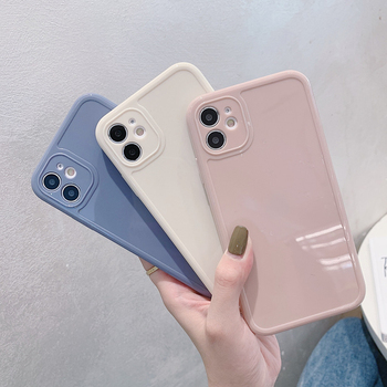 moskado Plain Silicone Square Phone Case For iPhone 12 11 Pro X XR XS Max 7 8 7Plus Soft TPU Back Case Camera Protection Cover image