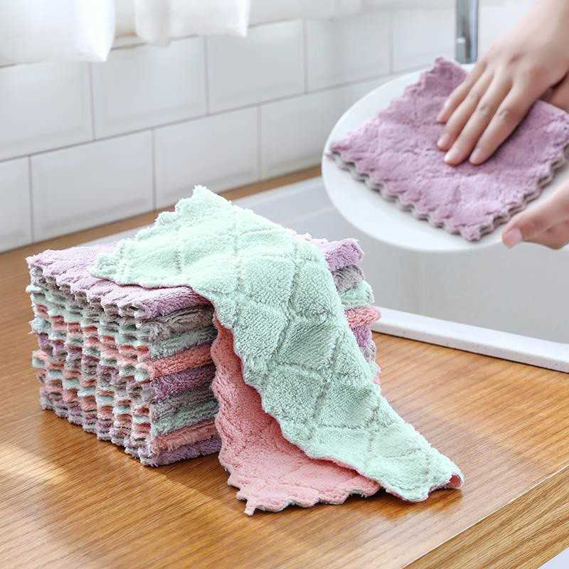 Rag Cleaning Cloth Water Absorbent Dishcloth Thickened Wipe Tablecloth Towel Kitchen Does Not Touch Oil Drop Hair Cleaning Cloth
