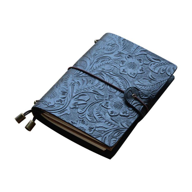 Винтажный кожаный журнал путешествий; Записная книжка, дневник с тиснением, цветочный блокнот, блокнот для рисования, бизнес-письма - Цвет: B