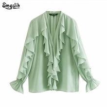 2019 kimono blouse women womens tops and blouses england urban style Cascading butterfly ruffles blusas mujer de moda
