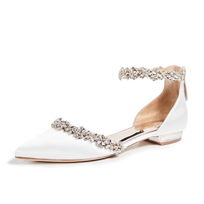 Elegant Womens White Lace Floral Princess Shoes Rhinestones Bride Wedding Shoes