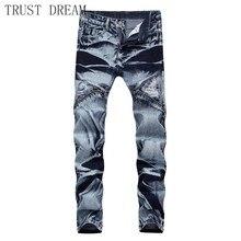 2019 Europeans Style Men Slim Zipper Jeans Straight Washed Color Ripped Hole Man Biker Motor Denim Pants Cool Hip Hop Trousers недорго, оригинальная цена