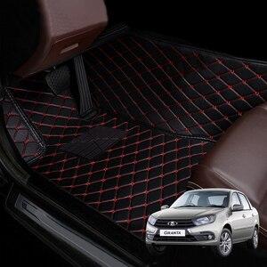 Car floor mats For LADA Granta auto carpet thickened ecological leather Custom foot mats for cars Interior handmade floor mats(China)