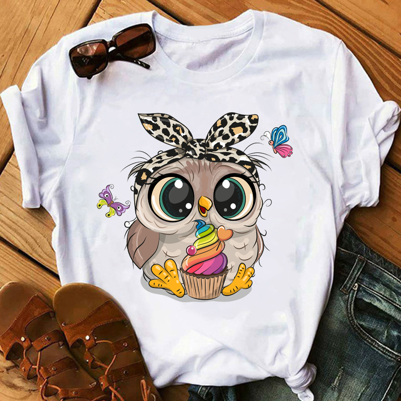 Super Cute Owl Print Tee Shirt Women Spring and Summer Fashion Top Short Sleeved O-neck T-shirts Casual Comfy Tops White