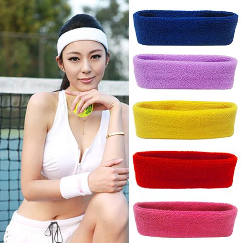 Women/Men Cotton Sweatband Headband Yoga Gym Running Sport Stretch Head Hair Band Cycling Wide Head Prevent Sweat Band 1pcs