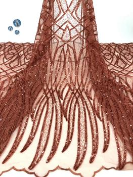 2019 Latest  French Embroidered Tulle Lace Africa Sequins Mesh Lace Fabric Sewing for Party Wedding Dress  DPOC081