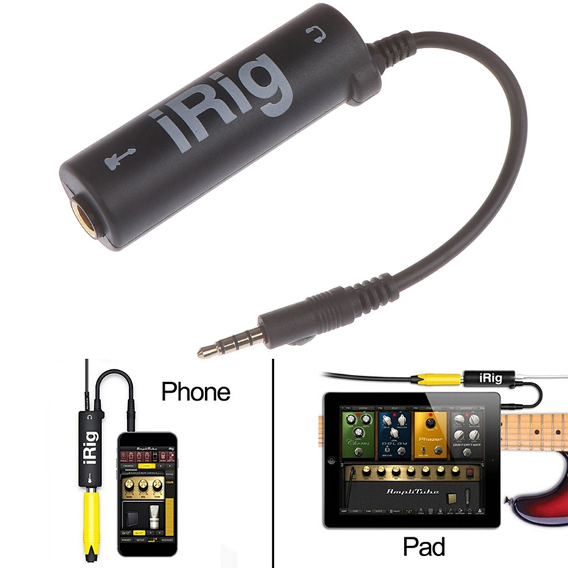 New Guitar Interface I-Rig Converter Replacement Guitar For Phone / Pad Black