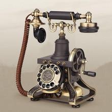 Teléfono fijo antiguo europeo hecho de metal vintage teléfono casa Oficina hotel retro fijo tono de llamada mecánico