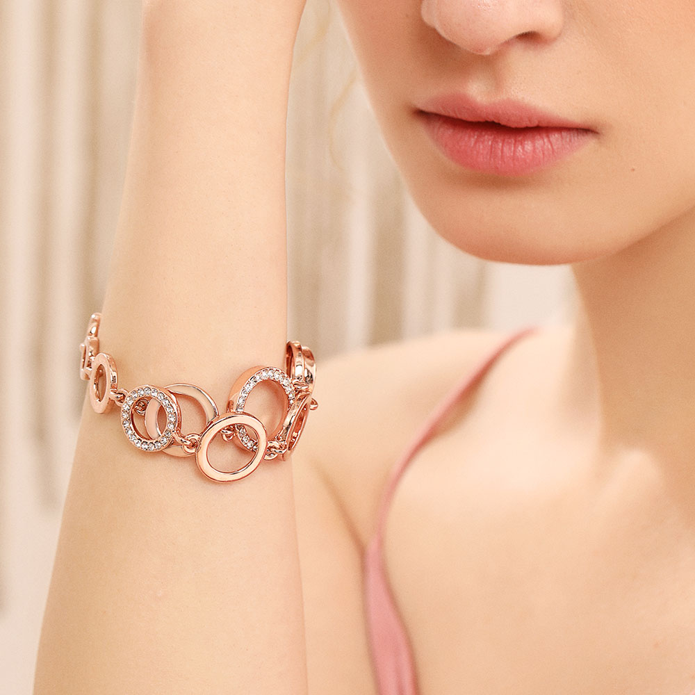 Viennois Bangles Circles Bracelet Wedding-Jewelry Rhinestones Rose-Gold Female Double-Layer