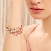 Viennois Brand New Fashion Jewelry Rose Gold Plated Circles Bracelet & Bangles Rhinestones Round Bracelets For Women Femme Gift