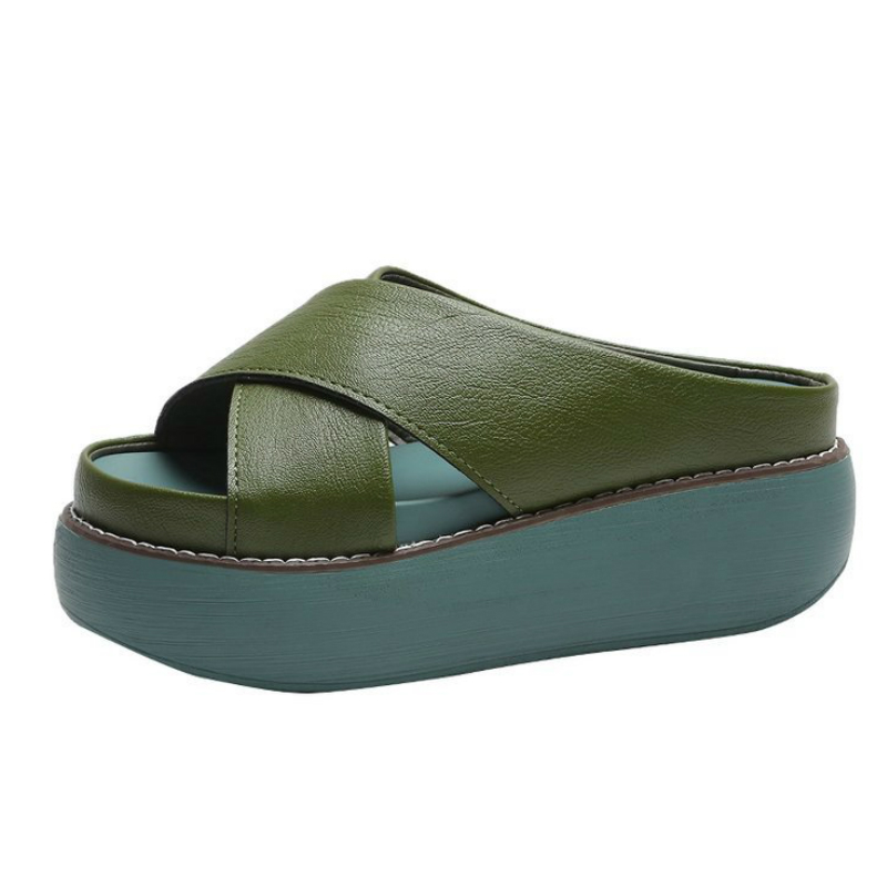 Peep Toe High Heels Women Wedges Slippers Fashion Pu Leather High-heeled Women Flip-flops Thick Heels Women Slippers De Mujer